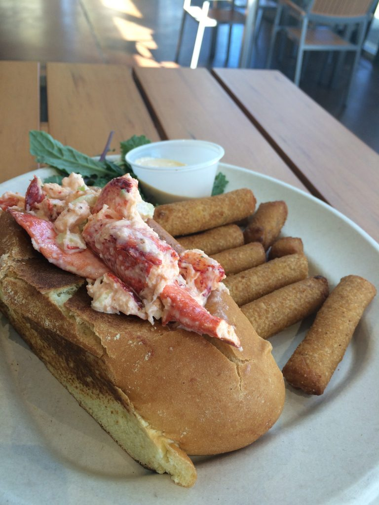 lobster roll at rexs seafood at the market