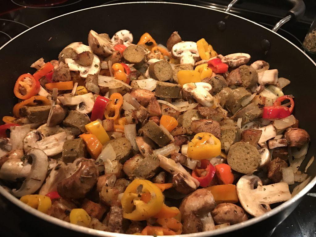 vegan skillet with sausage