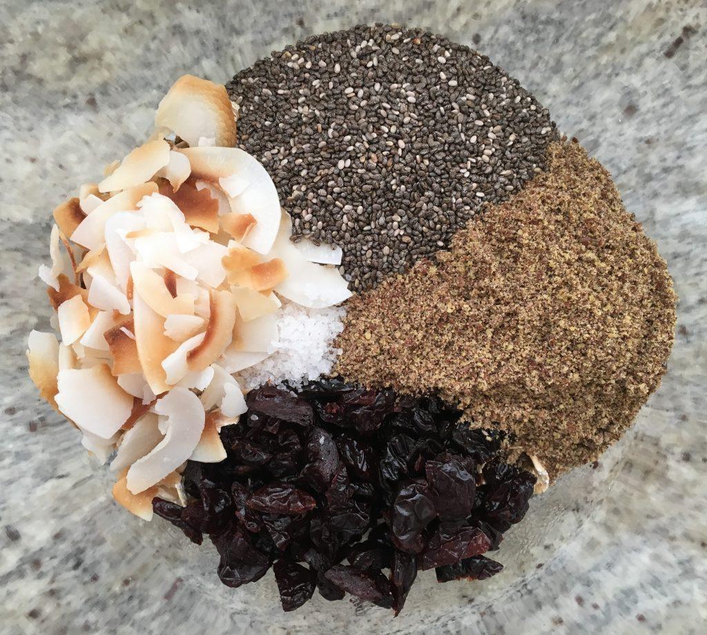 dry ingredients for chocolate cherry bites