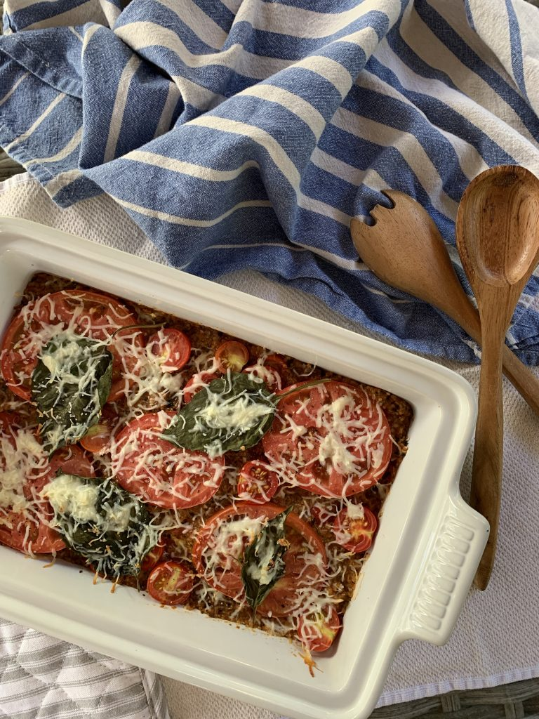 easy caprese quinoa bake